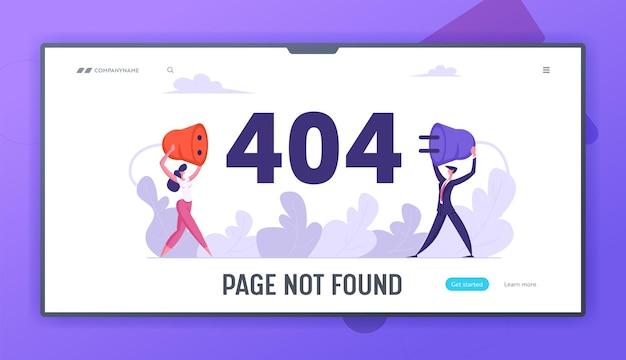 Página de erro 404 do site com conjunto de páginas de destino de conceito de negócio Vetor Premium