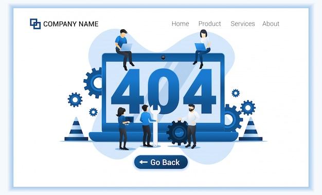 Página de erro 404 não encontrada conceito com grupo de pessoas tentando corrigir erro na página do site. Vetor Premium