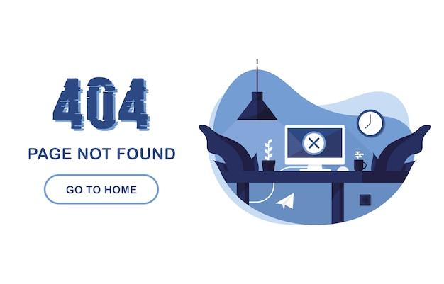 Página de erro 404 não encontrada. vá para o banner em casa. erro no sistema, página quebrada. interior com computador e mesa. para o site. relatório de problemas. azul e branco. Vetor Premium