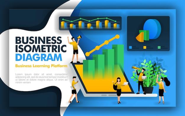 Página de ilustração de negócios isométrica e elemento Vetor Premium
