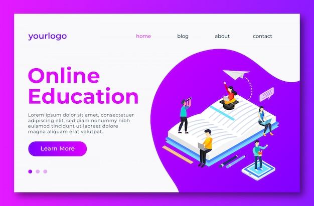 Página de landig de educação on-line Vetor Premium