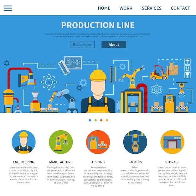Página de linha de produção Vetor grátis