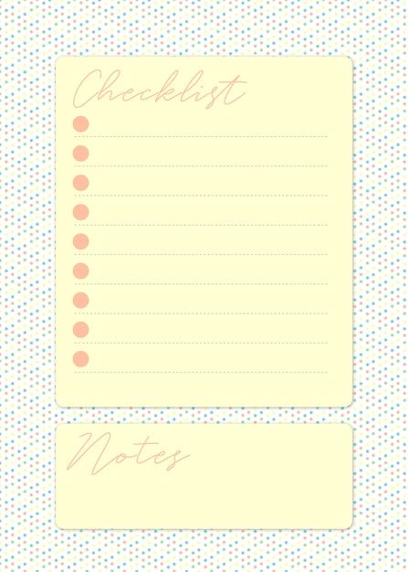 Página de lista de verificação bonita em amarelo com espaço para tomar notas em um fundo colorido pontilhado Vetor Premium