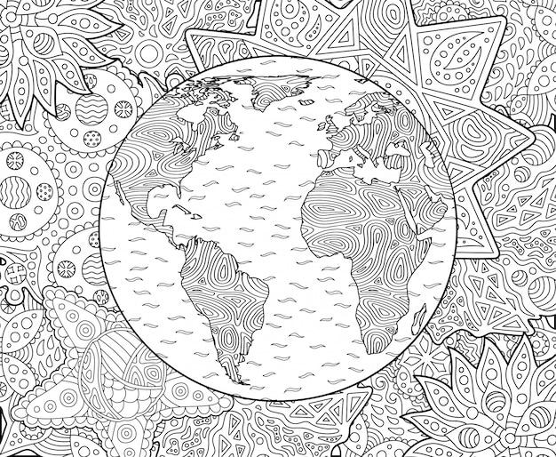 Pagina De Livro De Colorir Adulto Com O Planeta Terra Vetor Premium