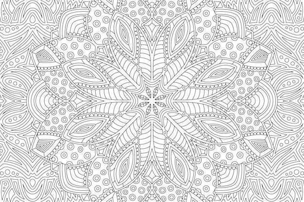 Página de livro para colorir com padrão linear abstrato Vetor Premium