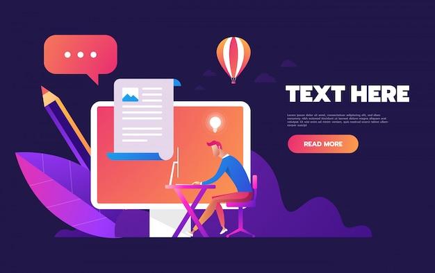 Página de login do conceito na tela do celular, computador desktop com formulário de login para página da web, banner, apresentação, conta de usuário Vetor Premium