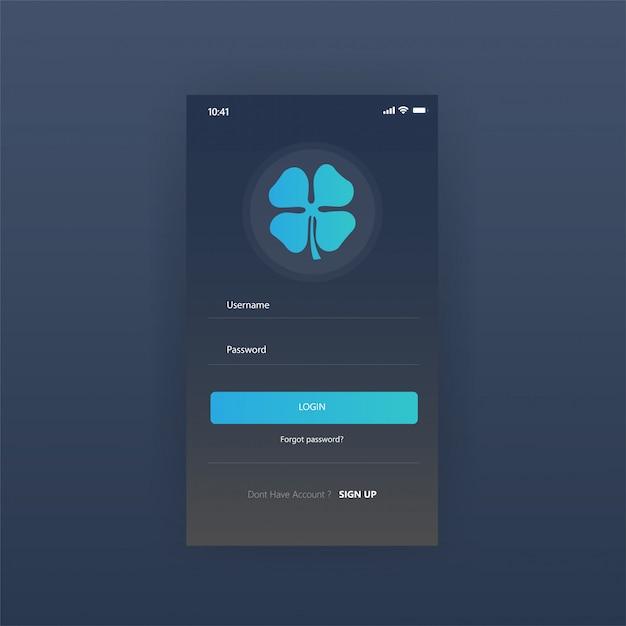 Página de login gratuita de aplicativos de painel de tela móvel Vetor Premium