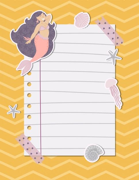 Página de nota colorida com uma sereia, algas, peixes e conchas. ilustração vetorial Vetor Premium