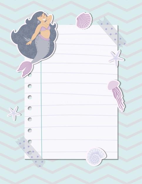 Página de nota colorida com uma sereia, algas, peixes e conchas. Vetor Premium