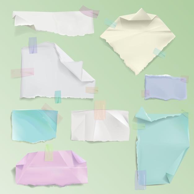 Página de papel recados ilustração de folhas rasgadas em branco realistas ou fragmentos esfarrapados Vetor grátis