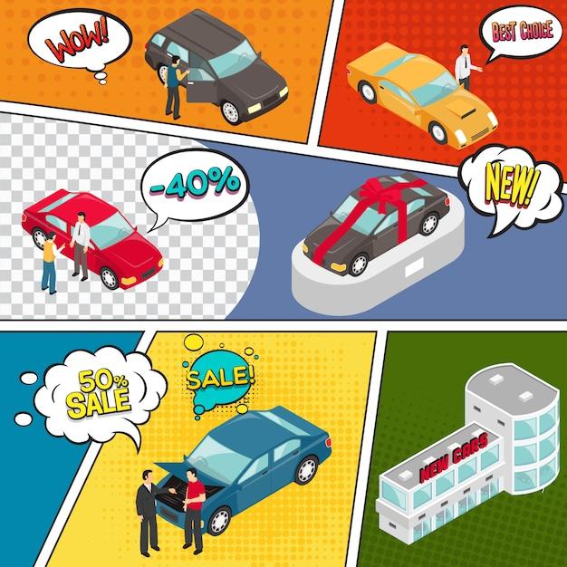 Página de quadrinhos de venda de carros Vetor grátis