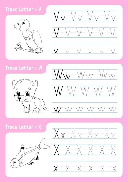 Página de rastreamento do alfabeto. planilha para crianças. Vetor Premium