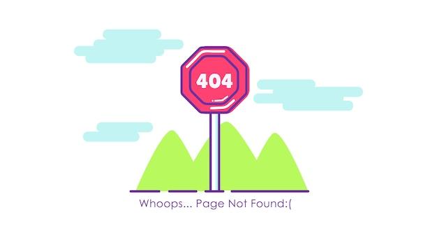 Página de sinal de trânsito 404 não encontrada. ilustração plana Vetor grátis