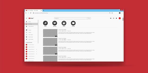 Página de tendências do modelo de ux da interface do usuário do youtube do site Vetor Premium