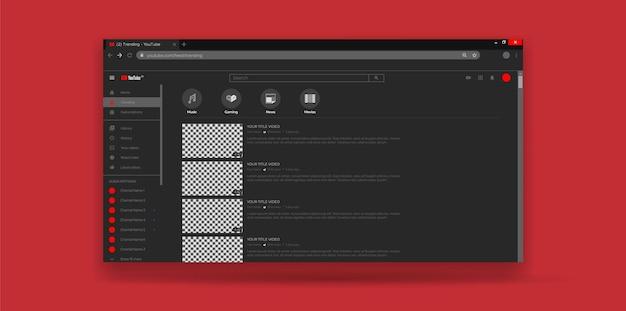 Página de tendências do template ux de interface do usuário do youtube de design de site Vetor Premium