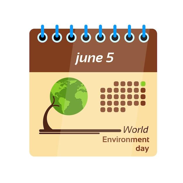 Página do calendário dia mundial do meio ambiente Vetor Premium