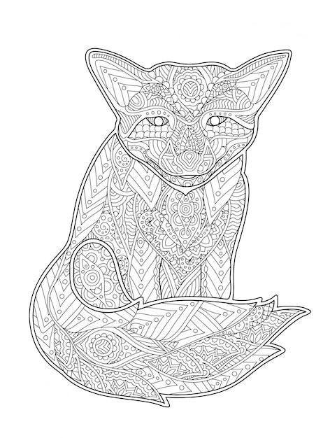 Página do livro de coloração com a raposa no fundo branco Vetor Premium