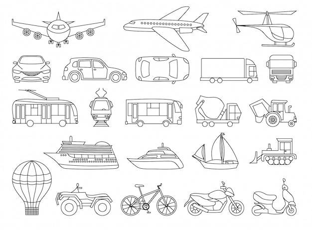 Página do livro de colorir de conjunto de transporte de brinquedo Vetor Premium
