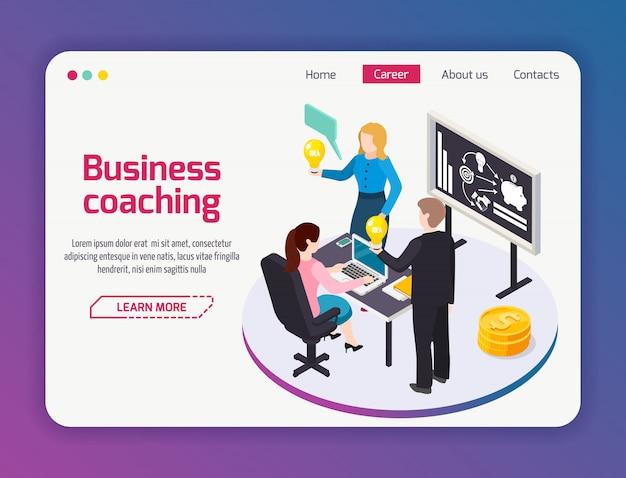 Página do site de business coaching Vetor grátis