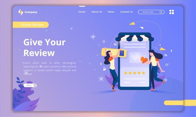 Página inicial com ilustrações sobre o conceito de comentários de clientes Vetor Premium
