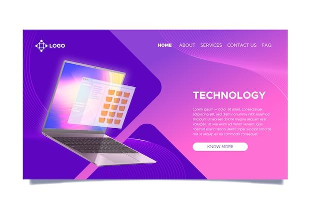 Página inicial com laptop com gradiente Vetor grátis