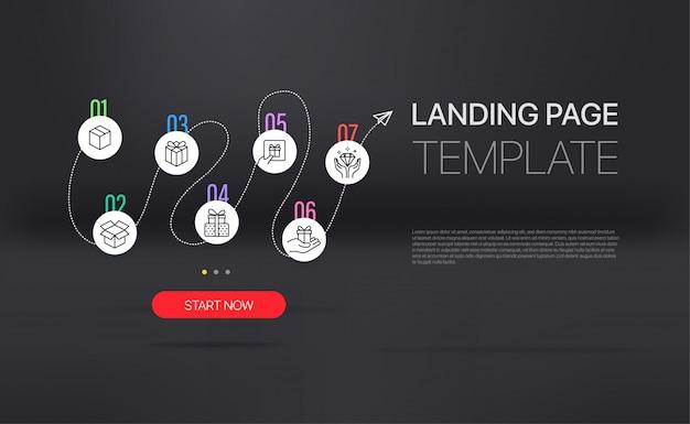 Página inicial com modelo de infográfico. Vetor Premium