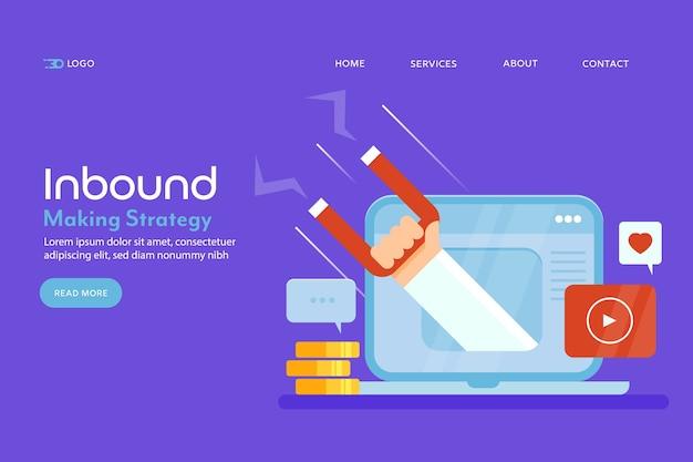 Página inicial conceitual de marketing de entrada Vetor Premium