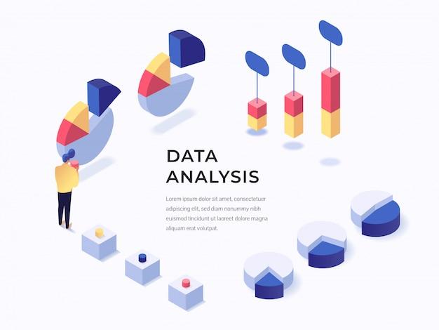 Página inicial da análise de dados Vetor Premium