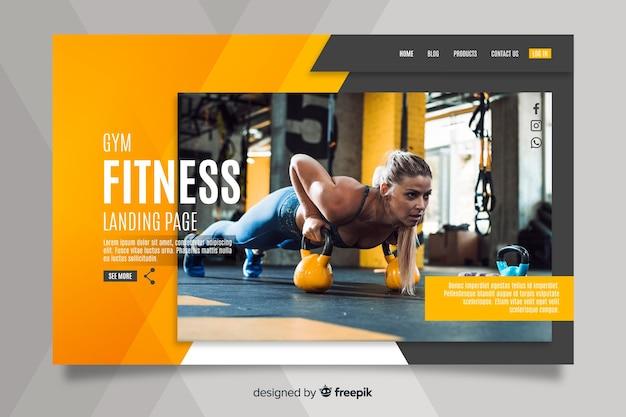 Página inicial da promoção do ginásio com foto Vetor grátis