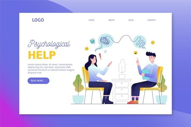 Página inicial de ajuda psicológica Vetor Premium
