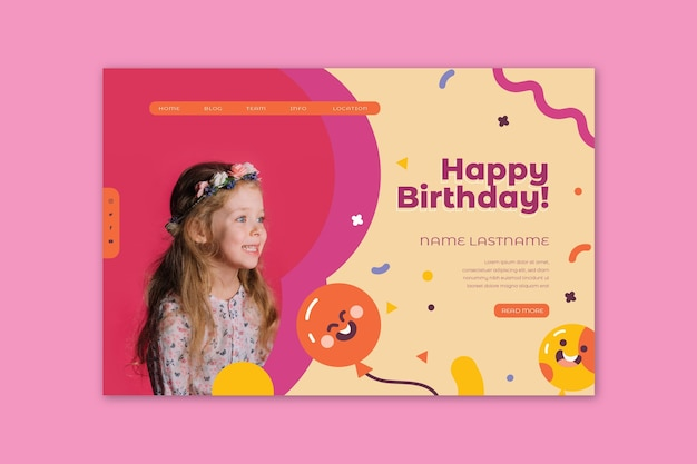 Página inicial de aniversário infantil Vetor grátis
