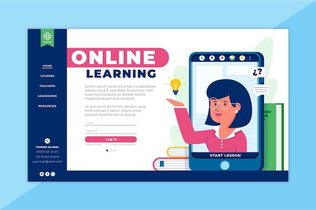 Página inicial de aprendizagem online Vetor grátis