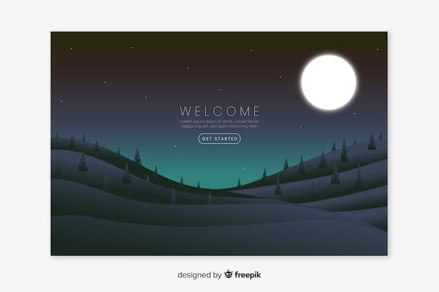 Página inicial de boas-vindas com paisagem gradiente Vetor grátis