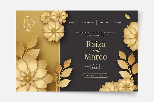 Página inicial de casamento floral Vetor Premium