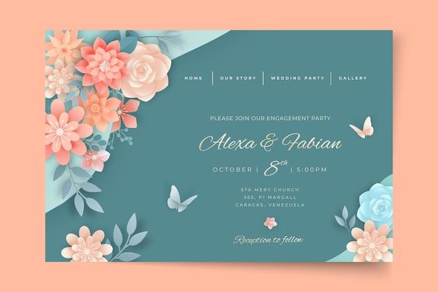 Página inicial de casamento floral Vetor grátis