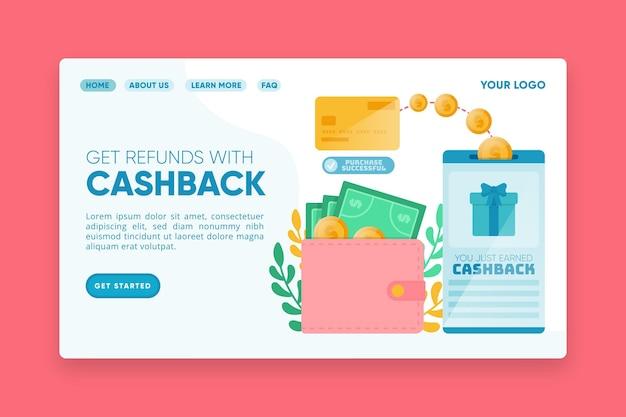 Página inicial de cashback para obter reembolsos Vetor grátis