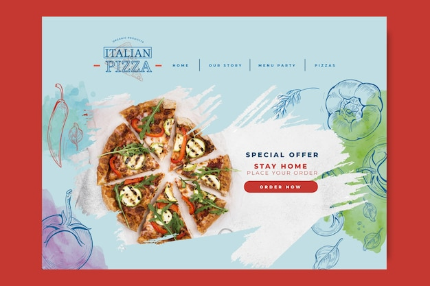 Página inicial de comida italiana Vetor Premium