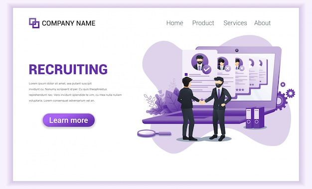 Página inicial de contratação ou recrutamento. Vetor Premium