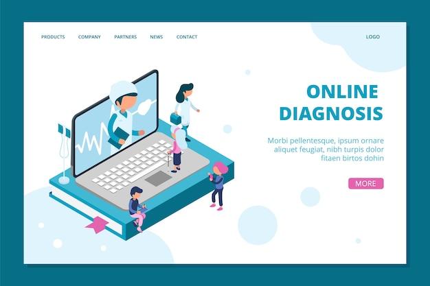 Página inicial de diagnóstico online. modelo de web on-line de médico isométrico. medicina, conceito de saúde com as pessoas. ilustração de diagnóstico isométrico, comunicação de consultor de isometria Vetor Premium