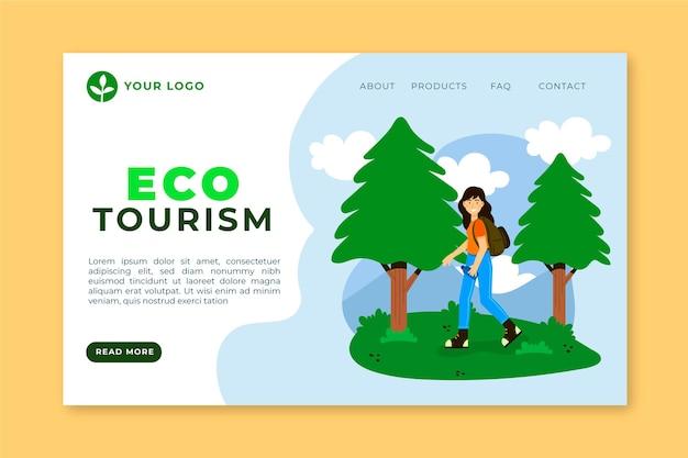 Página inicial de ecoturismo com mulher Vetor grátis