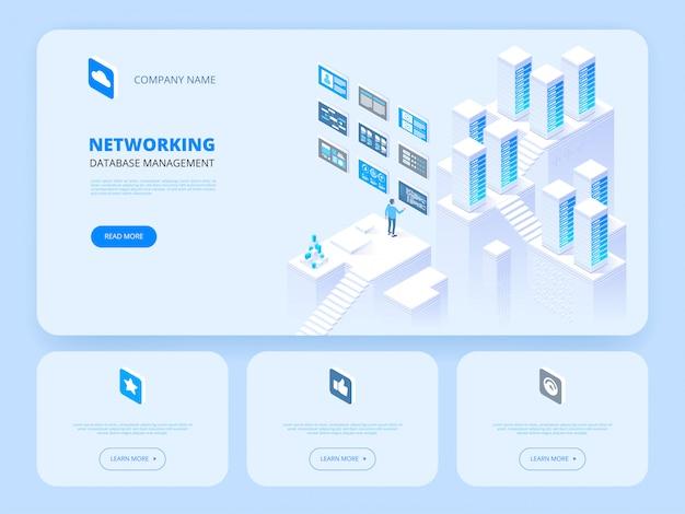Página inicial de gerenciamento de banco de dados Vetor Premium