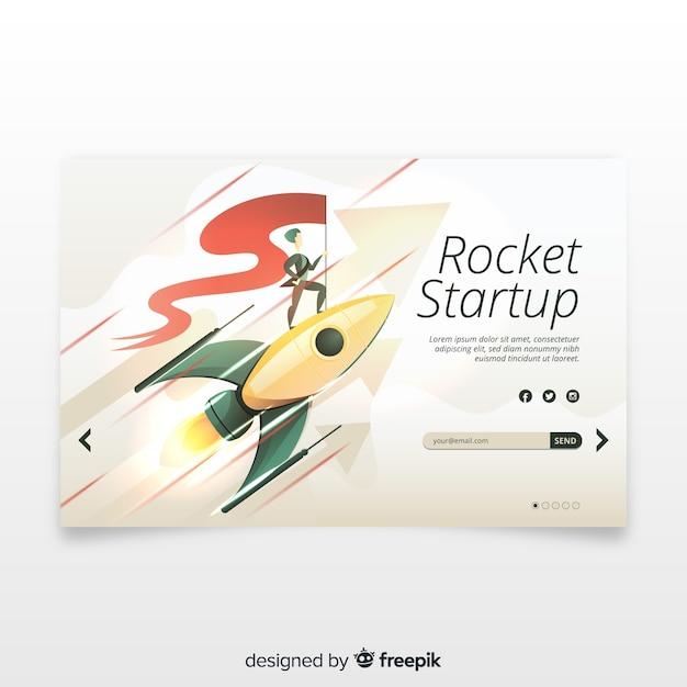 Página inicial de inicialização com um foguete Vetor grátis