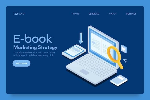 Página inicial de marketing de e-book Vetor Premium