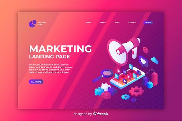 Página inicial de marketing em design isométrico Vetor grátis