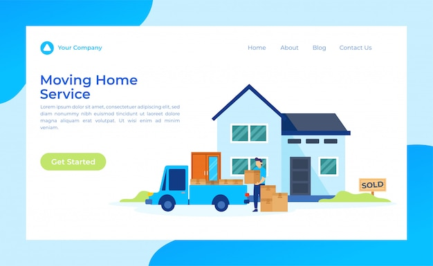 Página inicial de mudança de serviço em casa Vetor Premium