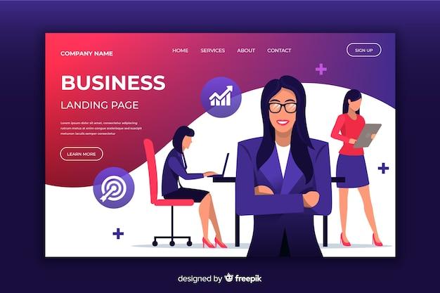 Página inicial de negócios com mulheres ilustradas Vetor grátis