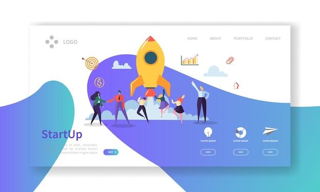 Página inicial de negócios de inicialização. novo banner de projeto com personagens de pessoas lançando modelo de site de foguete. Vetor Premium