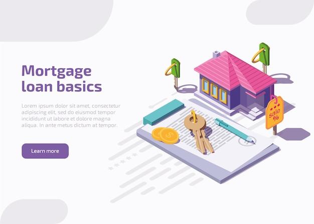 Página inicial de noções básicas de empréstimos hipotecários ou banner da web Vetor grátis