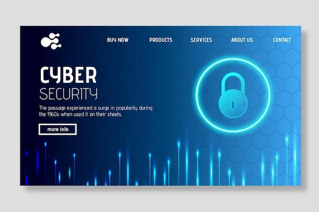 Página inicial de segurança cibernética Vetor grátis