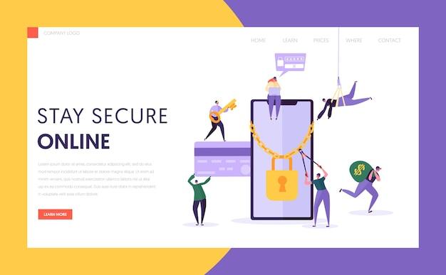 Página inicial de segurança da senha de pagamento da internet do telefone. hacker rouba dados de cartão de crédito financeiro da tela do smartphone. site ou página da web de proteção contra cracking de crédito de dinheiro. ilustração em vetor plana dos desenhos animados Vetor Premium